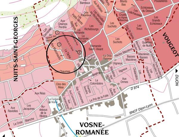 Carte parcelle de La Tache de la Romanée conti